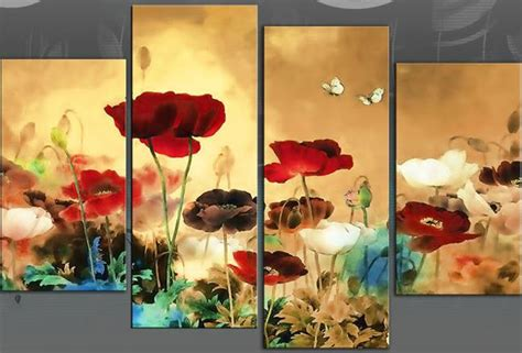 large 60 quot multi field poppies flowers floral 4 panel picture canvas wall print