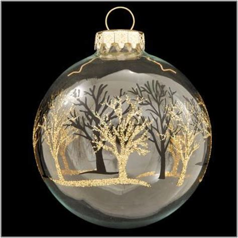 clear glass tree decorations clear glass ornament with gold and black tree line