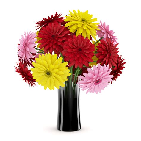 three color flowers in black vase 3d model max obj fbx
