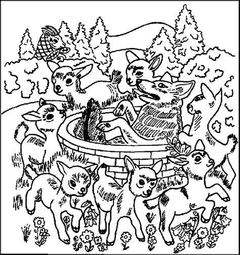 und ausmalbilder der wolf und die sieben geisslein maerchen
