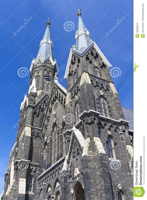 gothic revival architecture in wisconsin facade of historic church in milwaukee stock photo image