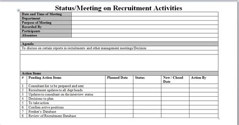recruiter daily planner template recruitment process report