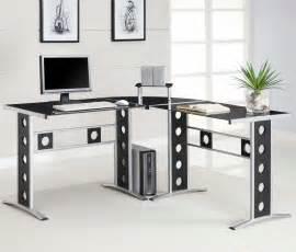 Modern l shape and silver frame black glass desk