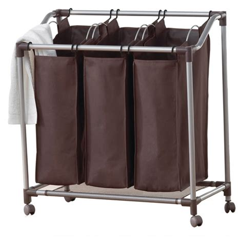 Neatfreak Deluxe Triple Laundry Sorter Brown Walmart Com Best Laundry Sorter
