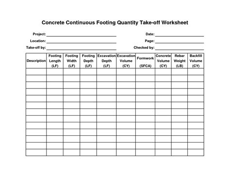 concrete estimate template engineering design process worksheet abitlikethis