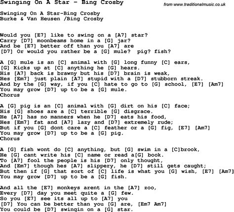 lyrics to swing song swinging on a star by bing crosby with lyrics for
