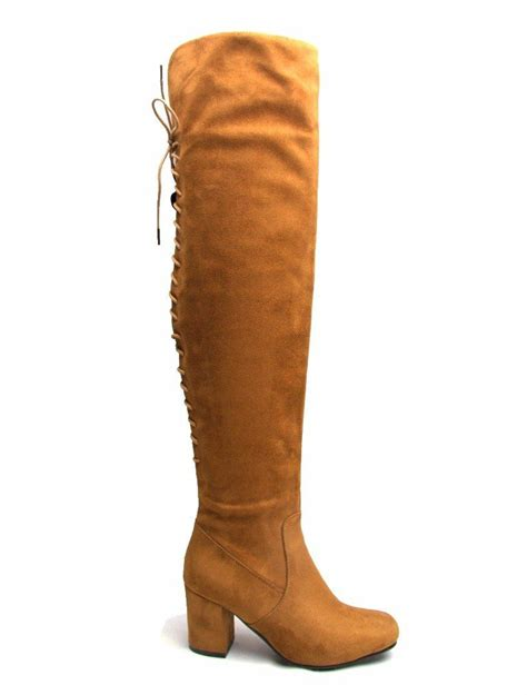 knee high mid heel boots womens fashion mid block heel lace the knee high faux