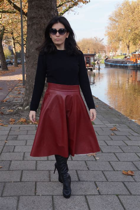 midi skirt leather boots the colourful bouquet