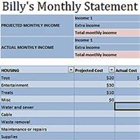 monthly income statement template excel 17 best images about income and expense activities for