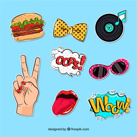 Fun Aufkleber by Fun Stickers With Pop Art Style Vector Free Download