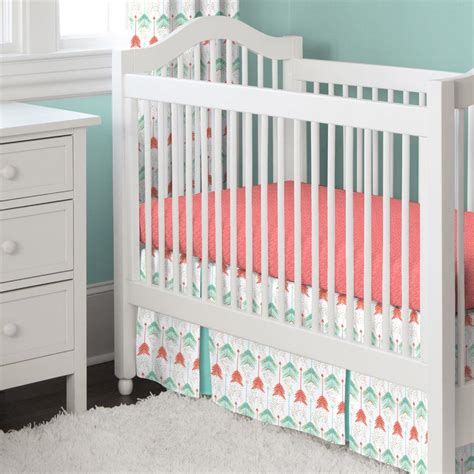 coral crib bedding set coral and teal arrow 2 piece crib bedding set carousel