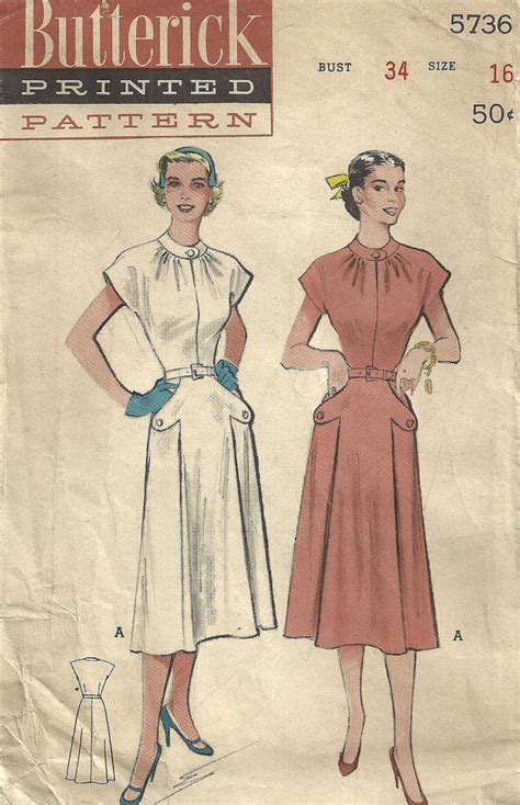 vintage pattern butterick vintage 50s sewing pattern from butterick 5736 dress size