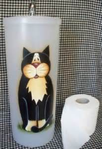 Black White Kitty Toilet Paper Holder by Hand Painted Cat Toilet Paper Holder Canister Whimsical Ebay