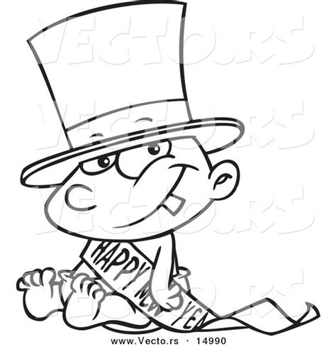 new year baby coloring page vector of a cartoon new years baby sitting coloring page