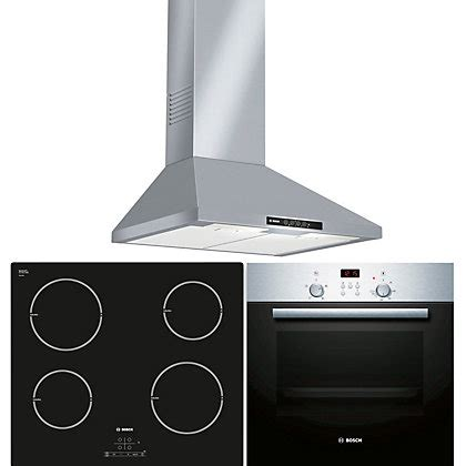 bosch kitchen appliance packages bosch appliance package hbn33134b oven pia611b68b induction hob dww06w450b cooker hood