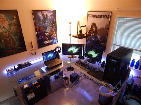 how to setup a home office in a small space gaming setup room tour home office july 2015