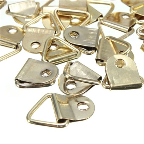 100pcs creative new golden picture hangers brass triangle photo 100 d ring frame hanger hooks picture frame hanging