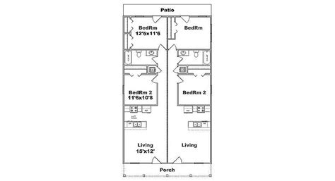 duplex house plans for narrow lots narrow lot duplex plan j1690d b