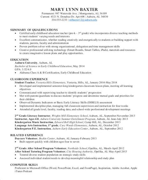 Preschool Resume by 9 Preschool Resume Templates Pdf Doc Free