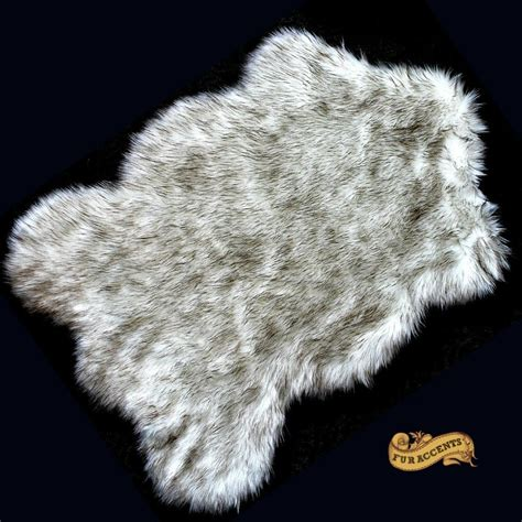 wolf fur rug fur accents black tip russian wolf throw rug by fur accents