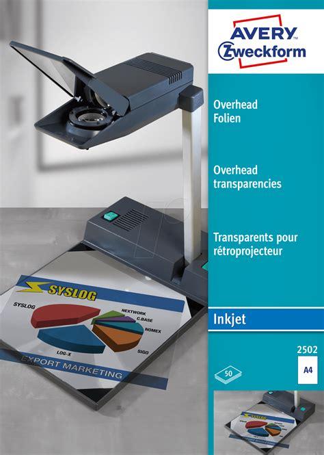 Folie Drucken Mit Tintenstrahldrucker by Folie 2502 Overheadfolie Din A4 F 252 R Inkjet Drucker 50