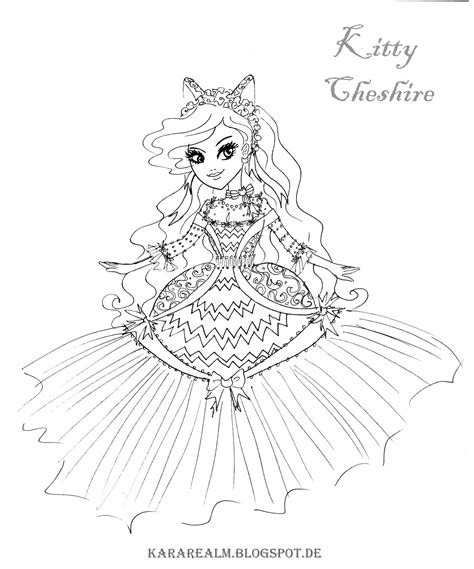 ever after high coloring pages cards free coloring pages of kitty cheshire ever after high