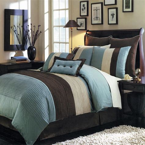 blue and brown bedroom set blue and brown color block comforter and pillows set