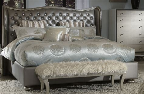 metallic bedroom furniture aico hollywood swank metallic upholstered bed n03000qnup3 78