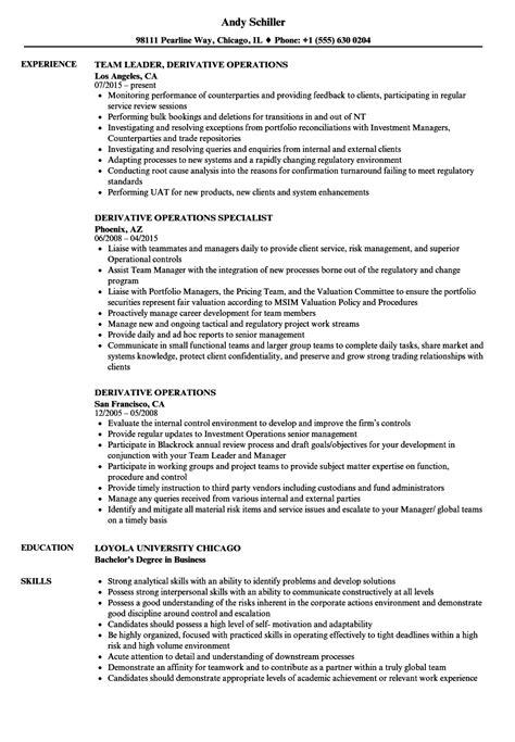 Derivatives Market Specialist Sle Resume by Derivatives Market Driverlayer Search Engine