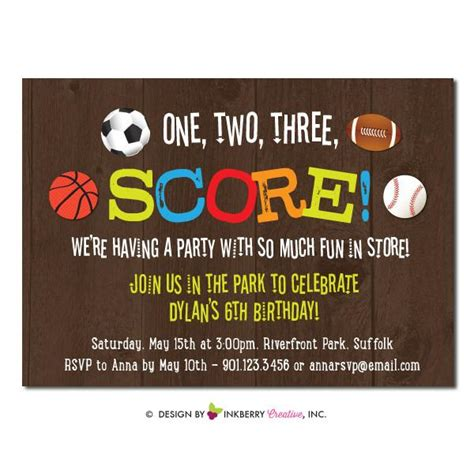 sports themed birthday invitations final score kids sports theme birthday party invitation