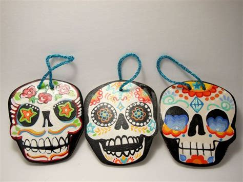 sugar clay ornaments day of the dead ornaments hanging decorations painted clay ornaments by bones
