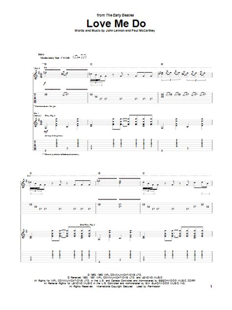 love me do love me do guitar tab by the beatles guitar tab 74826