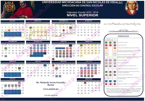 Calendar 2018 Umich Calendario Escolar 2015 2016 Universidad Michoacana De San
