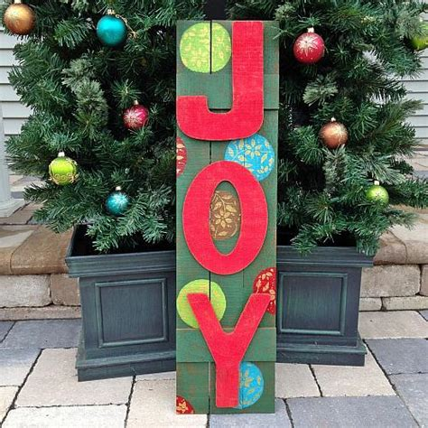 wooden joy christmas yard sign wooden outdoor sign project by decoart