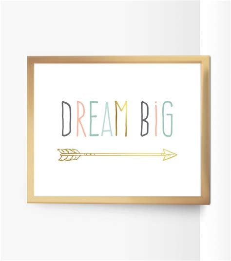 mint and coral home decor printable dream big nursery quote decor arrow peach mint