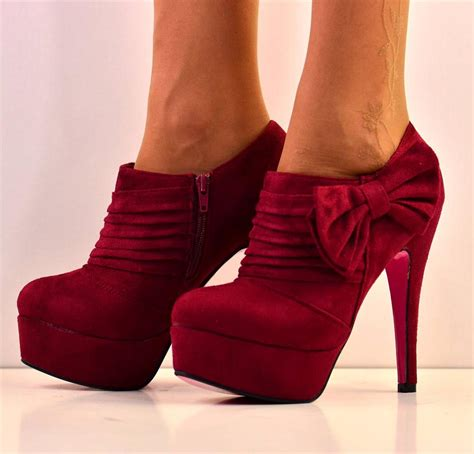 new size uk 4 maroon bow suede platform high