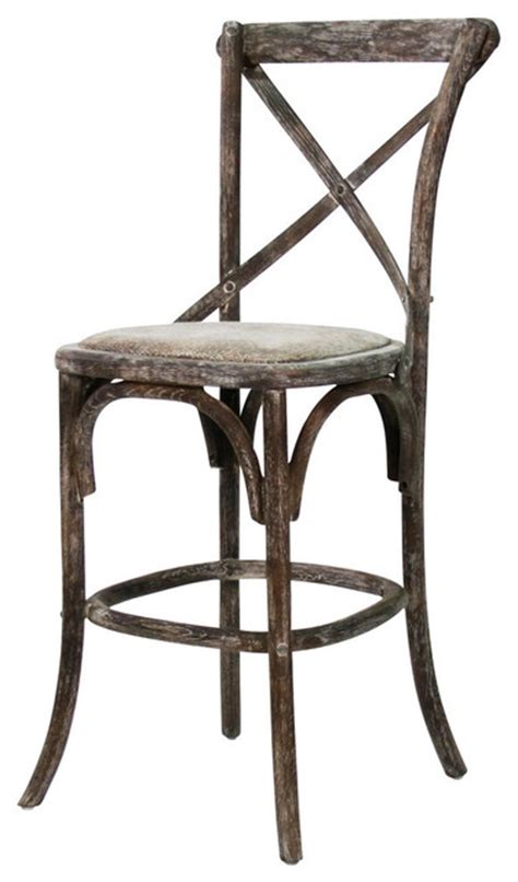 Farmhouse Bar Stool by Parisienne Cafe Counter Stool Limed Charcoal Farmhouse