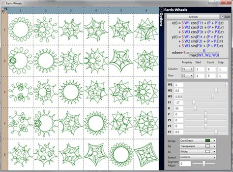 pattern formula generator spirograph shapes wpf bezier shapes from math formulae