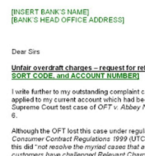 Bank Complaint Letter For Bank Charges Govan Centre Unfair Bank Charges Free Help To Amend Existing Complaint Letters