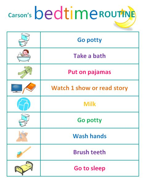 printable toddler routine 8 best images of bedtime routine printables morning and