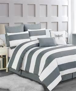 gray delia stripe comforter set
