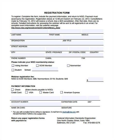 register form template 32 sle free registration forms