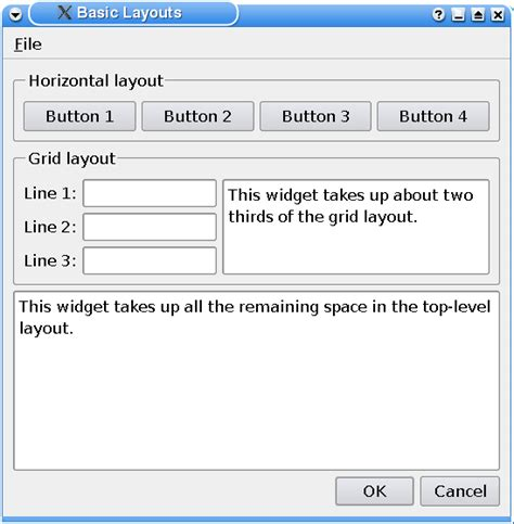 qt layout add object qt 4 1 basic layouts exle