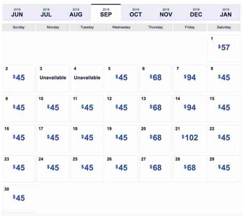 southwest flight calendar world printable chart