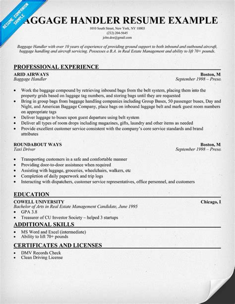 Airport Baggage Handler Cover Letter by Exle Resume Baggage Handler Resume Sle