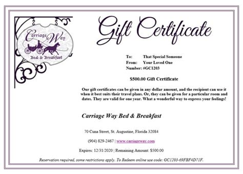 Bed And Breakfast St Augustine Gift Certificate Hotels In St Augustine Florida Bed And Breakfast Gift Certificate Template