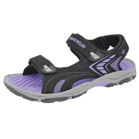 womens trekking sandals dunlop hook loop wide e