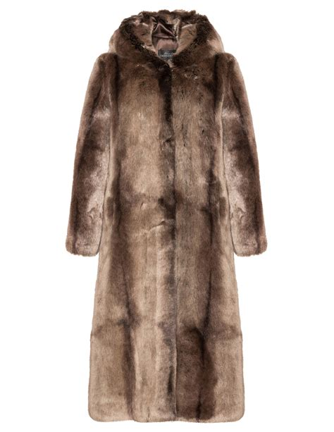 Faux Fur by Fabulous Furs Hooded Faux Fur Coat Navabi