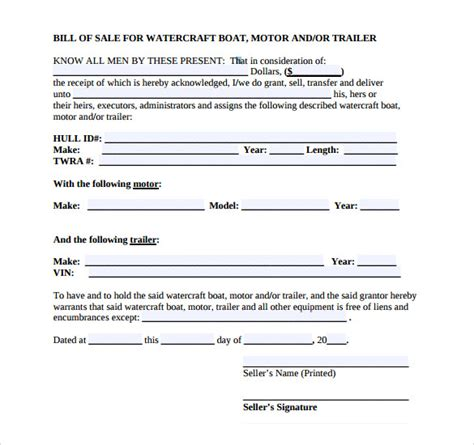 boat bill of sale form 8 boat bill of sale templates to free sle