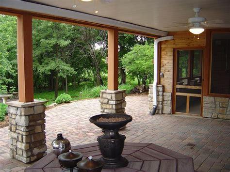 stones surrounding  base   deck posts